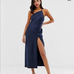 ASOS one shoulder midaxi dress in satin